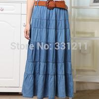 Hot selling,high quality Korean long  Bohemia big pendulum washed denim blue long skirt!