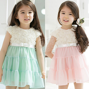2013 Dress Pink And Green Baby Baby Dress/Girls' Dress/Summer Dress Loving Heart design