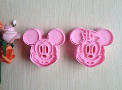 Free shipping 2PCS Pink Mickey shape mold sugar Arts set Fondant Cake tools/cookie cutters(China (Mainland))
