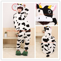 Kigurumi Cute Pyjamas Animal suits Coral fleece stitch cartoon animal sleepwears play Costume unisex pyjamas by0011 Dairy Cow(China (Mainland))