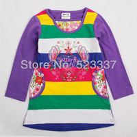 FREE SHIPPING F1139#12m-5y 5piece/lot beautiful flowers embroidery spring / autumn  long sleeve T-shirt for baby girls