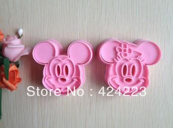 Free  shipping  2PCS Pink Mickey shape mold sugar Arts set Fondant Cake tools/cookie cutters
