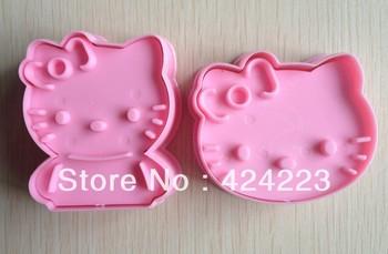 Free  shipping  2PCS Pink Hello Kitty shape mold sugar Arts set Fondant Cake tools