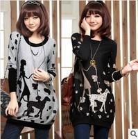 2014 Women sweatshirt Cartoon printing design Long Sleeve Sweatshirts Casual Plus Size Knitted Pullovers Black and Grey S-XXXL