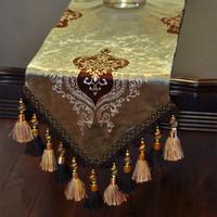 2015 Mantel Navidad Redonda European Golden Velvet Table Flag Table Runner Pillow Cover Fashion Coffee Cloth Tablecloths Western