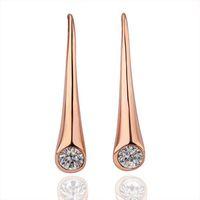 VGE218  Vogue Trendy 18K Rose Gold Plated Twist Shank Austrian Crystal Drop Earrings Brincos for women wholesale
