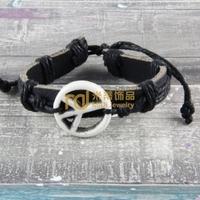 12pcs Cheap Sales Nepal Jewelry Cowhide Bracelet Recommend Genuine Leather Bangle Anti-war Peace B0407