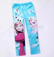 2014 new Baby leggings Kid pants  Full Length girl frozen leggings elsa and anna frozen pants Elastic waist cotton leggings kids