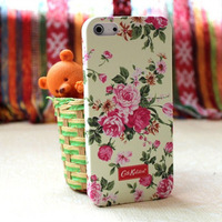 Free Shipping Rural Polka Dot Floral style plastic Luminous hard case cover for iphone 5 5G 5S, MOQ:1PCS