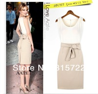 2013 sexy clothes for women European style wind spell color slit dress, lady slim silk dress plus size S,M,L A-198