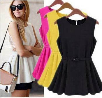High Street Fashion Womens Chiffon Vest Top Tank Sleeveless Shirt Slim Vogue Trend Blouse Shirt Chiffon Belt Camisas LQ9023