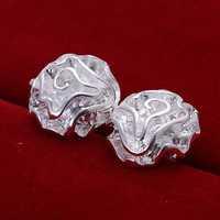Free Shipping 925 Sterling Silver Earring Fine Fashion Cute Rose Stud Earrings Silver Jewelry Earring Top Quality SMTE003