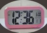 Pink Color Digital LED LCD Calendar Sensitive White Backlight Night Light Snooze Clever Alarm Clock