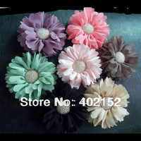 60pcs/7color 3inch artifical chiffon flowers Starburst Button without headband,wholesale girls hair accessories,baby head flower