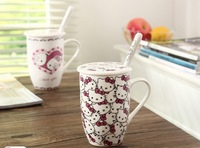 Free shipping hello kitty mug innovative items ceramic cups with lid and spoon four design per set