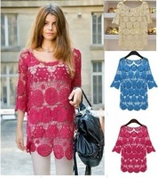 Lace shirt lace shirt 2013 new women's shirt blouse shirt blouse lace embroidery