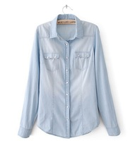 2014 New Fashion Women's Long Sleeve Solid Color Turn-down Collar Ladies' Denim Shirt T-Shirt Blouse in Stock
