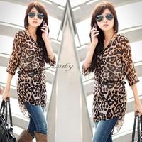 2014 Casual Korean Women's Fashion Nice Leopard Blouses Half Sleeve Long Shirt Chiffon Blouse 11624