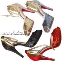 Eu34-43 Women 2014 Silver/Gold/Red/Grey/Black Bling Glitter Peep Toe Slingback High Heel Pumps Party/Wedding Shoes Big Size