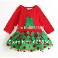 Free shipping 5pcs/lot Baby Girl Christmas Tree Celebrating Dress brand quality  girl red dress
