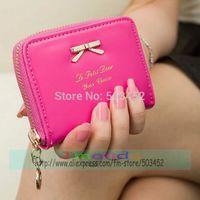 100pcs/lot Factory Price Ladies Pu Leather Purse Hot Sale Girl Bowknot Design Wallet Solid Color Women Wallet Photo Colors