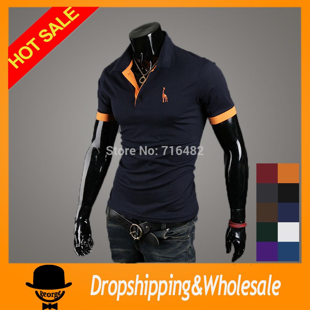 Free Shipping 2014 brand detonation model of short sleeve POLO shirt menswear fawn embroidery summer casual polo shirts x-217(China (Mainland))