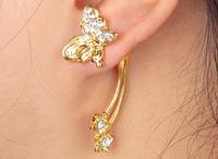#127 Fashion Rose Gold Plated Heart Rhinestone Ear Cuff Stud Earrings Charms Free Shipping 12pcs/lot