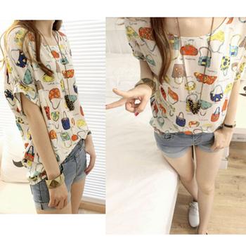 2015 new hot sale half sleeve women crew neck handbag pattern batwing sleeve loose chiffon shirt free shipping GWF-6155
