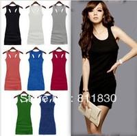 Free Shipping Dresses new fashion 2014 Summer Mini Sexy Dress Women Vest Tops & Tees Saias Women Sports T shirts Long Msshe