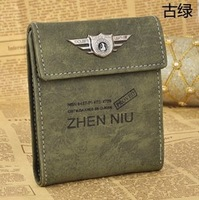 Free Shipping TS1051  2013 Fashion Retro Leather Casual Men Wallet Hot Sale Cheap Coin Purse 5 Colors Mixed Wholesale