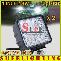 Free DHL Shipping 2PCS 48W LED Work Light Truck SUV ATV Mining Spot/Flood off-road 4WD Light LED Driving Offroad Light 54W 27W