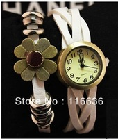 1pc Genuine Leather Brooch Bracelet watch for women Flower Bronze sunflower Retro Vintage Korean leather strap watches