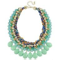Vintage Fashion Necklace Water Drop Statement Necklace Bib Bijouterie Colorful Big Chunky Necklace 6 Colors