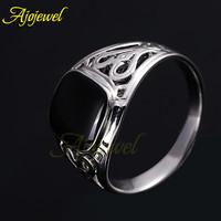 Size 7-12 Fashion enamel men jewelry 18k white gold plated big size black finger ring for man