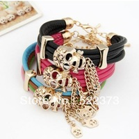 Min.order is $15(mix order)  Skull Shamballa Three Layers Leather  bracelet Free Shipping