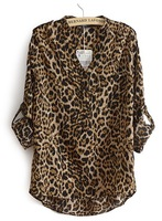 Best Selling!leopard print V Neck turn-up cuff thin long sleeve shirt/blouses Retail&Wholesale JYJ050771