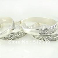 Tibetan Silver Bangles retro carve patterns or designs silver bracelet Restore ancient ways carve patterns adjustable bracelet