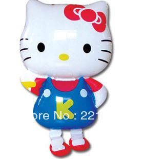 Hello kitty walking pet balloons Helium balloons Promotional toys Children toys Free shipping 30pcs/lot(China (Mainland))