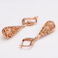 Wholesale New Dangle Earring 18K Rose Gold Plated Drop Earrings High Quality Fashion Bulgaria Jewelry Nickel Free 18KGP E016