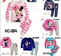 Free Shipping baby girl's fashion minine dot striped pajamas set children cartoon pyjamas kids brand clothing 6sets/lot