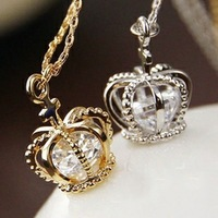 Min.order is $10(mix order) Free Shipping 2013 New Crown with Crystal Pendant Necklace