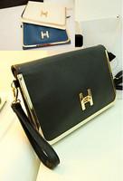 Free shipping envelope bag vintage briefcase buckle day clutch evening bag cross-body women's handbag small bags 3 color
