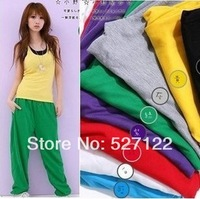 HOT SALE 2013 Casual sports pants YOGA DANCING trouses loose pants green/black/blue/gray/purple/red/yellow/ Free shipping