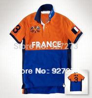 Free Shipping Brand Name 100% Cotton Mens France TEE Shirts Designer Men shirt Turn-down Tshirts Big Size 3XL 4XL on Sale