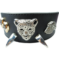 Brand New 2 Inch Wide Spiked PU Leather Skull Charm Dog Collar For Medium and Large Dogs