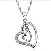 925 Silver Fashion Rhinestone Heart Pendant Necklace Bridal Accessories For Wedding