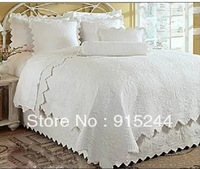 white cotton quilting waterwashed embroidered quilts 3pcs bedding set Europe American style hot sale quilt pillow drop shipping