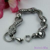 1pc Free shipping Fashion Stainless Steel Snake Bracelet for Men/Men's Bracelets AB010