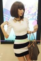 New Fashion 2014 Brand Summer Dresses For Women/Designer Mini Striped Printed Women Dresses/Casual Women Bodycon Dresses
