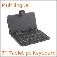 Multilingual Russian 7 INCH Tablet pc  with leather case keyboard ,FREE SHIPPING